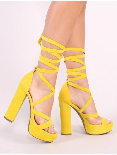 ce9925cbaa3 Stella Lace Up Heels in Yellow Faux Suede in 2019
