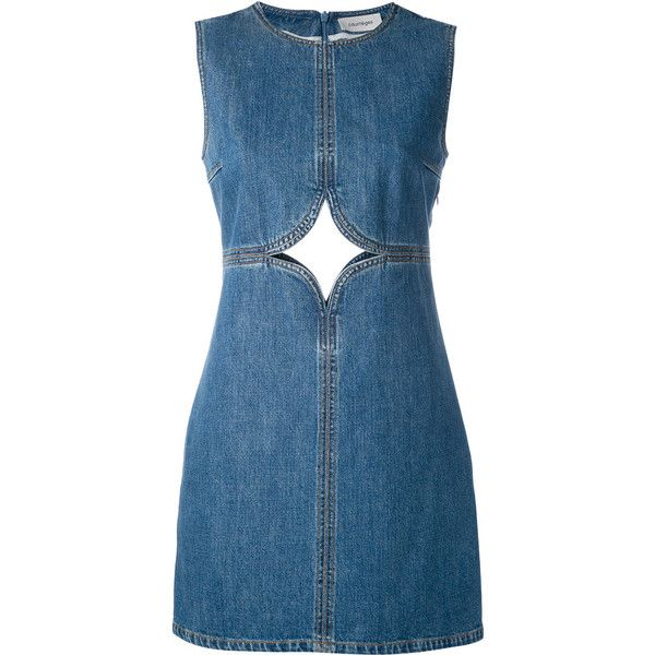 Courrèges cut out detail denim dress found on Polyvore featuring dresses, vestidos, denim, jeans, blue, no sleeve dress, straight dresses, round neck sleeveless dress, courreges dress and round neck dress