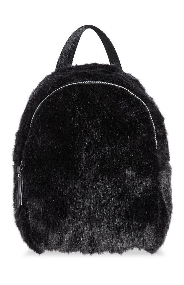 0b4cb5fe636c Ladies Girls Light Black Fluffy Mini Backpack Faux Fur from Primark ...