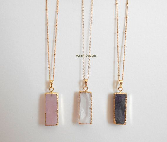 Gemstone Bar Necklace Gemstone Necklace Bar by AzramDesigns
