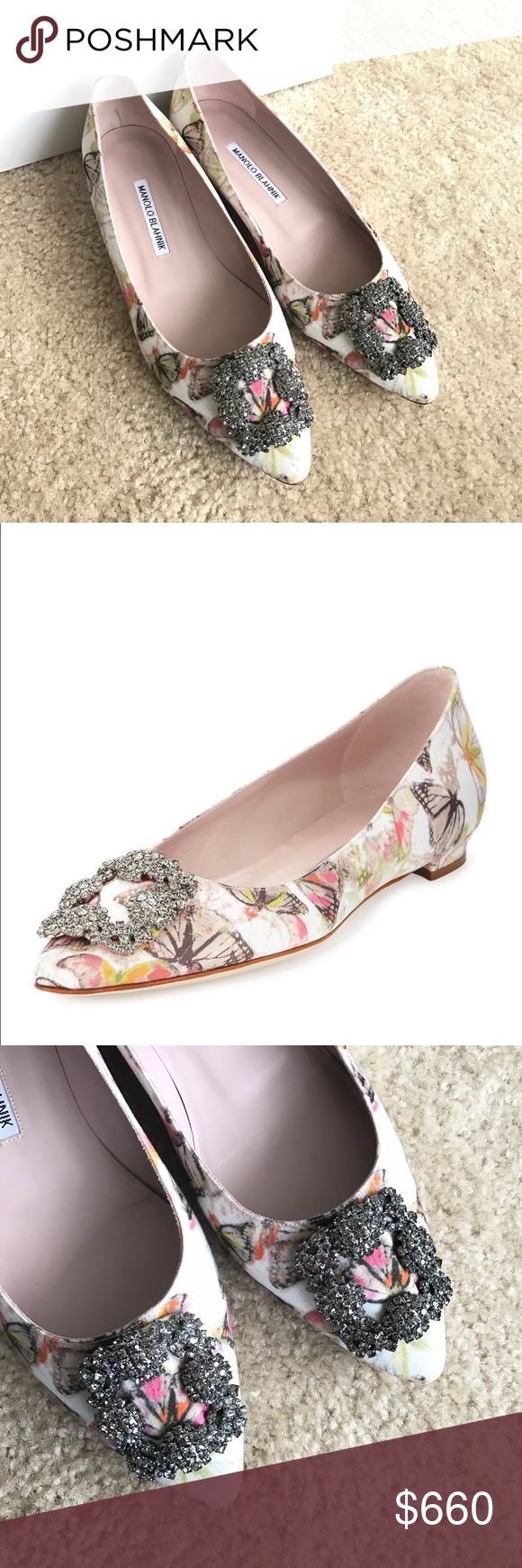 """Manolo Blahnik Hangisi Butterfly-Print Satin Flat NIB Manolo Blahnik Hangisi Butterfly-Print Satin Flat  Size 38.5/8.5. Please know your size before bidding! Guaranteed 100% Authentic. Purchased from NM Last Call. There may be some imperfection since it comes from an outlet. Please see photos for details. Comes with dustbag and shoebox. RETAIL PRICE: $955 + TAX  Details: Manolo Blahnik """"Hangisi"""" flat in butterfly-print satin. 0.5"""" flat heel. Pointed toe. Square crystal buckle. Topstitched…"""