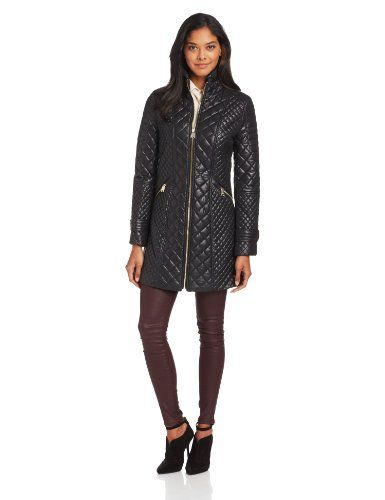 Via Spiga Womens Transitional Quilted Jacket, Black, Small