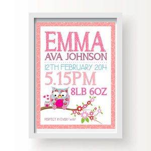 Personalised Owl Baby Birth Print Pink Or Blue - pictures & prints for children