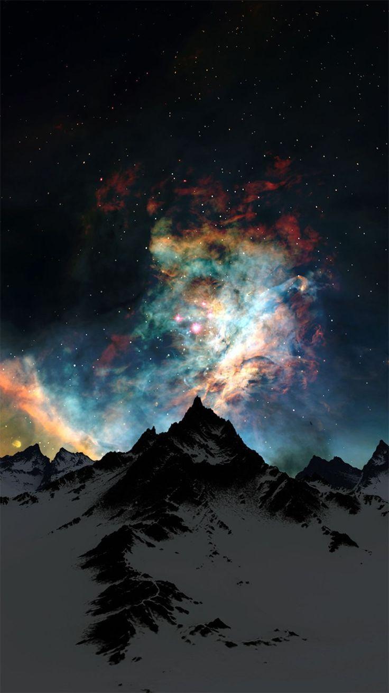 冬の雪山と夜空 iPhone6壁紙 もっと見る
