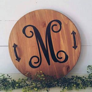 Round Wood Initial Serving Tray