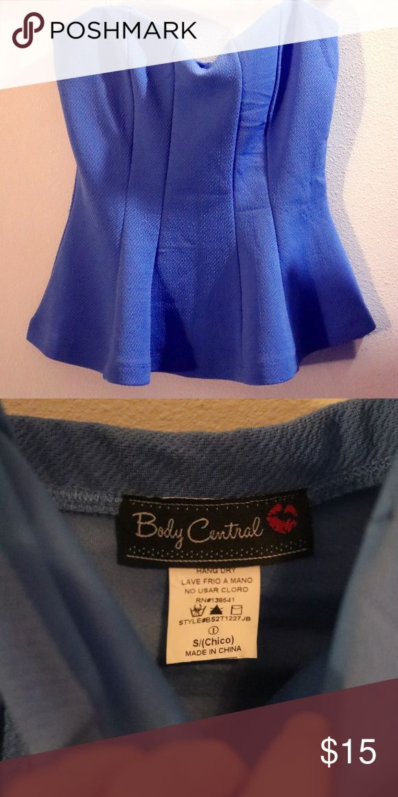 Body Central Peplum top Adorable blue Size S peplum top, date night ready! Tried on once, never wore out. Body Central is currently shut down. Guaranteed quality checks on all items sold! Body Central Tops
