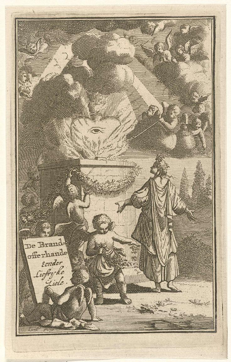 Gerrit Lambrechtsz | Brandend hart op een altaar aanbeden, Gerrit Lambrechtsz, Jacobus Verheyde (I), 1715 | Een vrouw staat in aanbidding voor een altaar waarop een groot hart brandt, symbool voor de goddelijke liefde. Op het door vlammen omringde hart prijkt het Alziend Oog, in de lucht zweven engeltjes. Naast de vrouw strooien engelen bloemen en versieren het altaar.