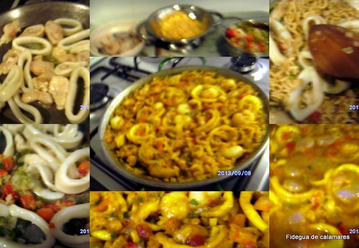 Fidegua de calamares. Calamares Fideos de fidegua, sofrito, ajo, gambas, caldo de pescado, romero, aceite, sal, pimento y azafran