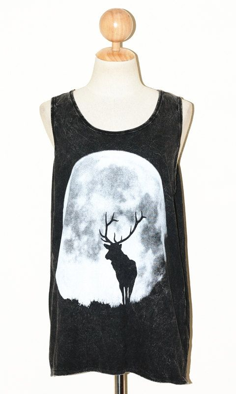 DEER and the MOON Women Top Clothing Bleached Black Sleeveless Singlet Indie Art Women Animal T-Shirt Size L