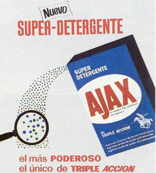 Un dels primers anuncis de detergents per a llavadores de la marca Ajax, ja que en els anys 60 es van comensar a fabricar les primeres llavadores de roba.