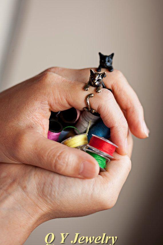 Горячая распродажа старинные пушки черный ручной хиппи среднего пальцев котенок кольцо Boho Chic латунной костяшки животных кошка кольца для мужчины женщины ювелирные изделия купить на AliExpress
