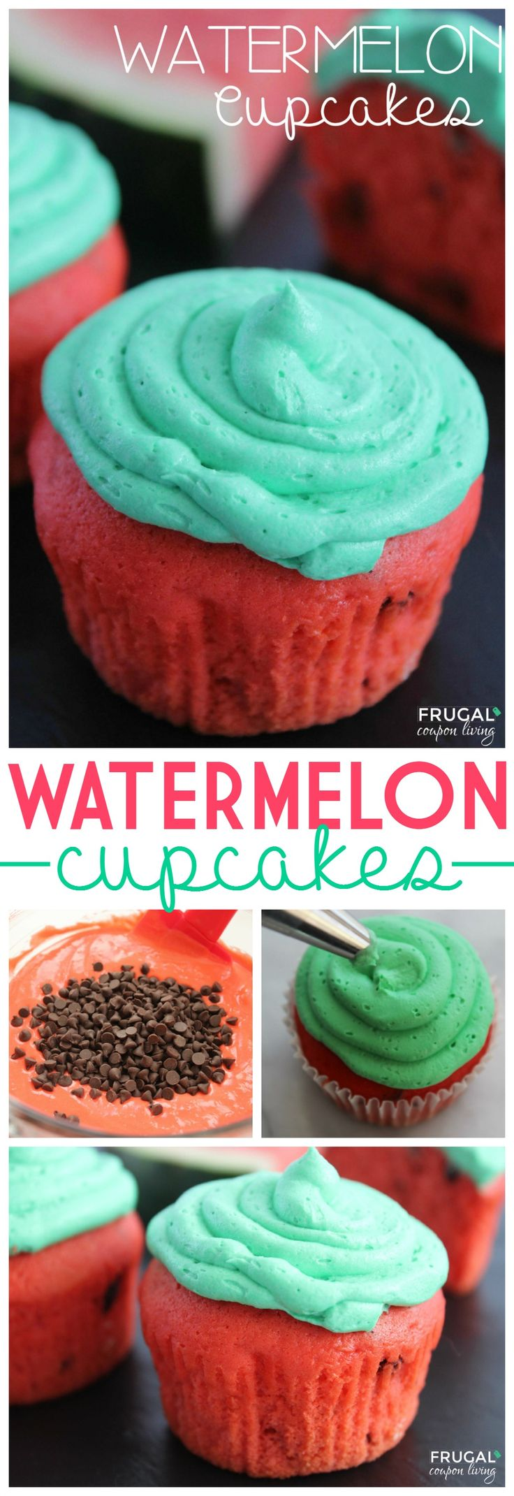 Watermelon Cupcakes with Chocolate Chips - this watermelon recipe is great for kids as a summer treat. Recipe and Tutorial on Frugal Coupon Living.