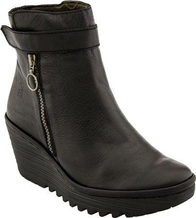Fly London Yava Women's Wedge Boot (Black)