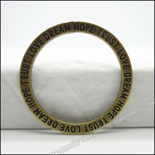 50 шт. старинные подвески круг прыжки кольца с буквами античного бронзового сплава цинка поделки металлические ювелирных изделий 35 * 35 мм