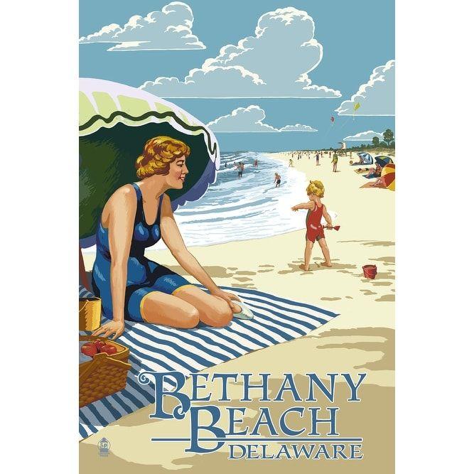 Bethany Beach, DE - Woman on Beach - LP Artwork (Acrylic Wall Clock), Black (Plastic)