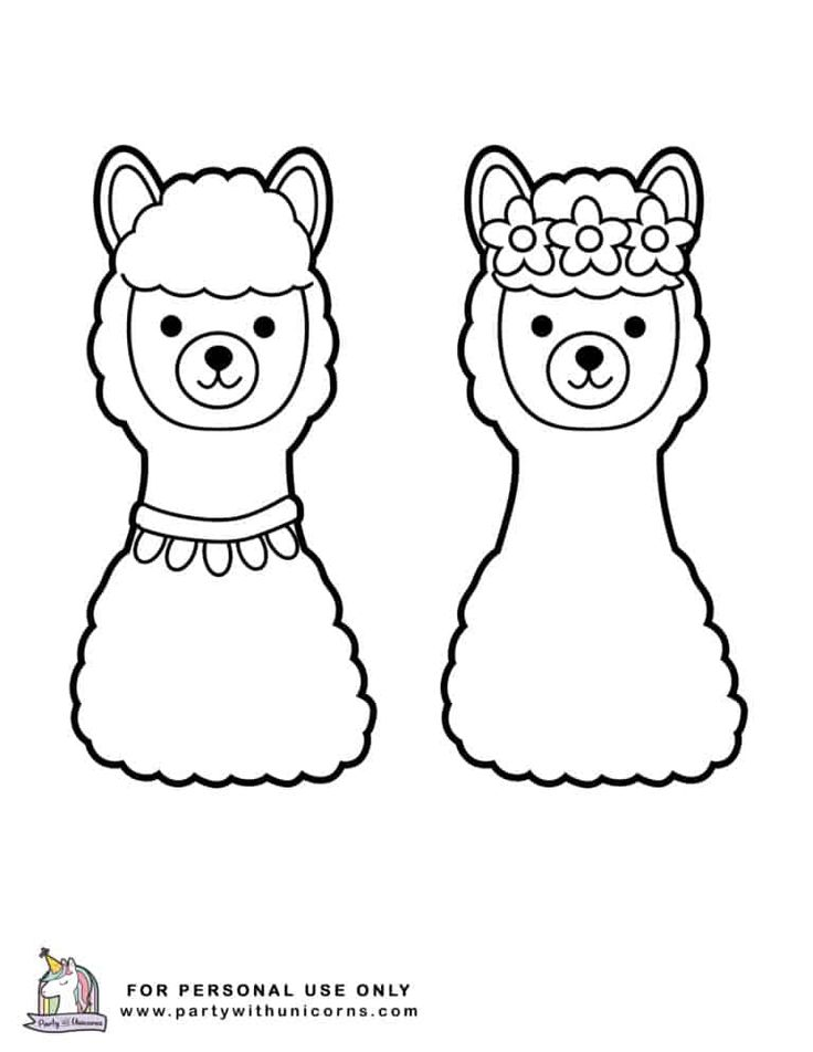 Cute Outline Doodle Llama With Hand Drawn Elements Royalty Free Illustration Cute Coloring Pages Coloring Pages Llama Drawing