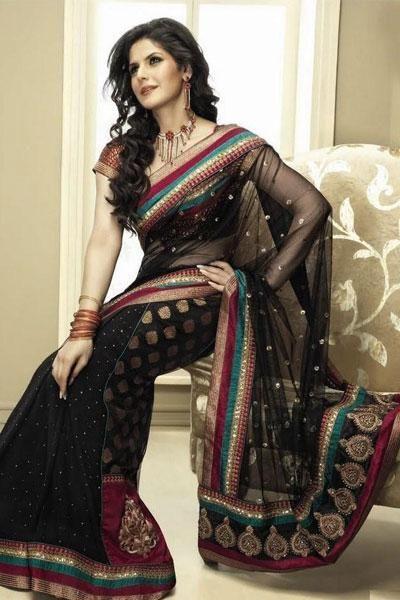 Zarine Khan in Half Georgette Half Chanderi with Net Pallu in this exciting Brijraj series - bollywoodshaadis.com
