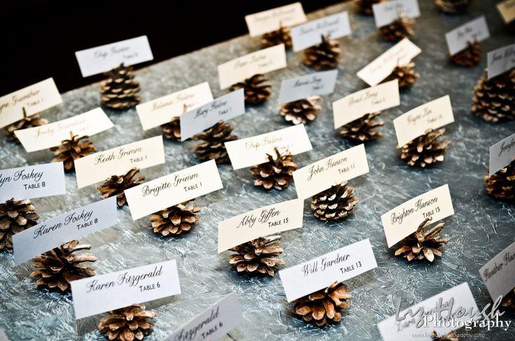 Pine cone escort cards for a winter wedding