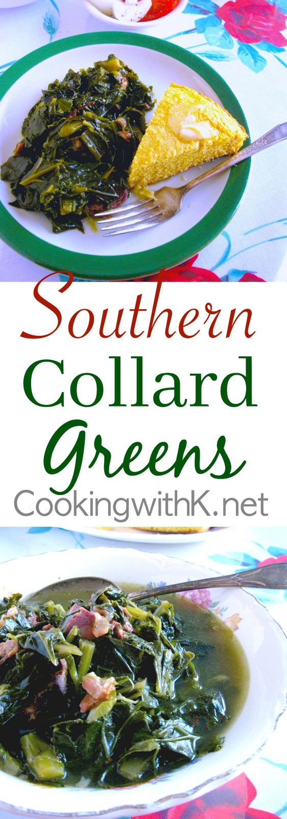 Southern Collard Greens,  a delicious Southern dish served in most households all year long, especially around the holidays.   In the south, we generally cook large amounts of greens at one time, referring to them as an ole' mess of greens.