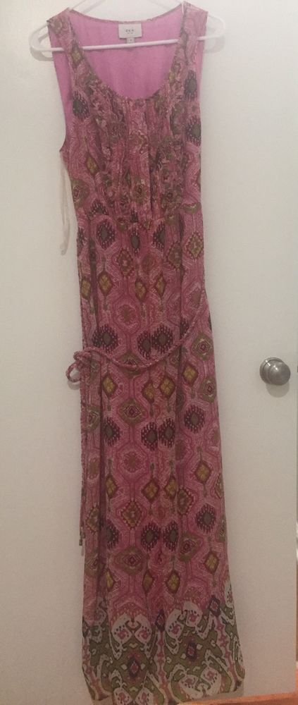 Eci New York Maxi Dress Pink And Green Print Size 14 W Braided Belt