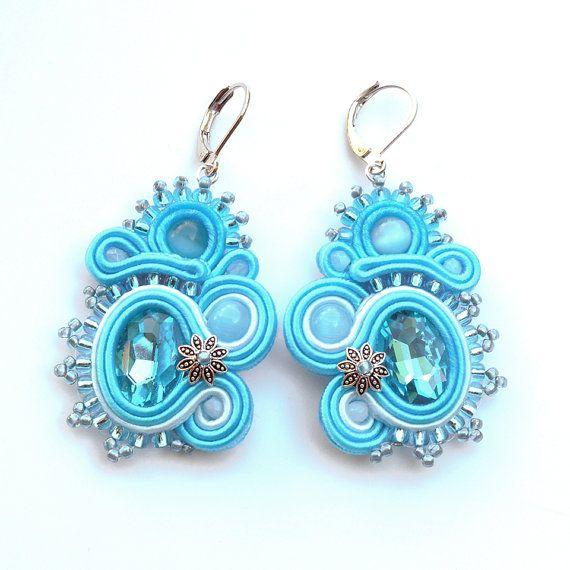 Turquoise soutache earrings, blue earrings, dangle earrings, oriental jewellery, soutache pendientes, soutache jewelry, light blue crystal