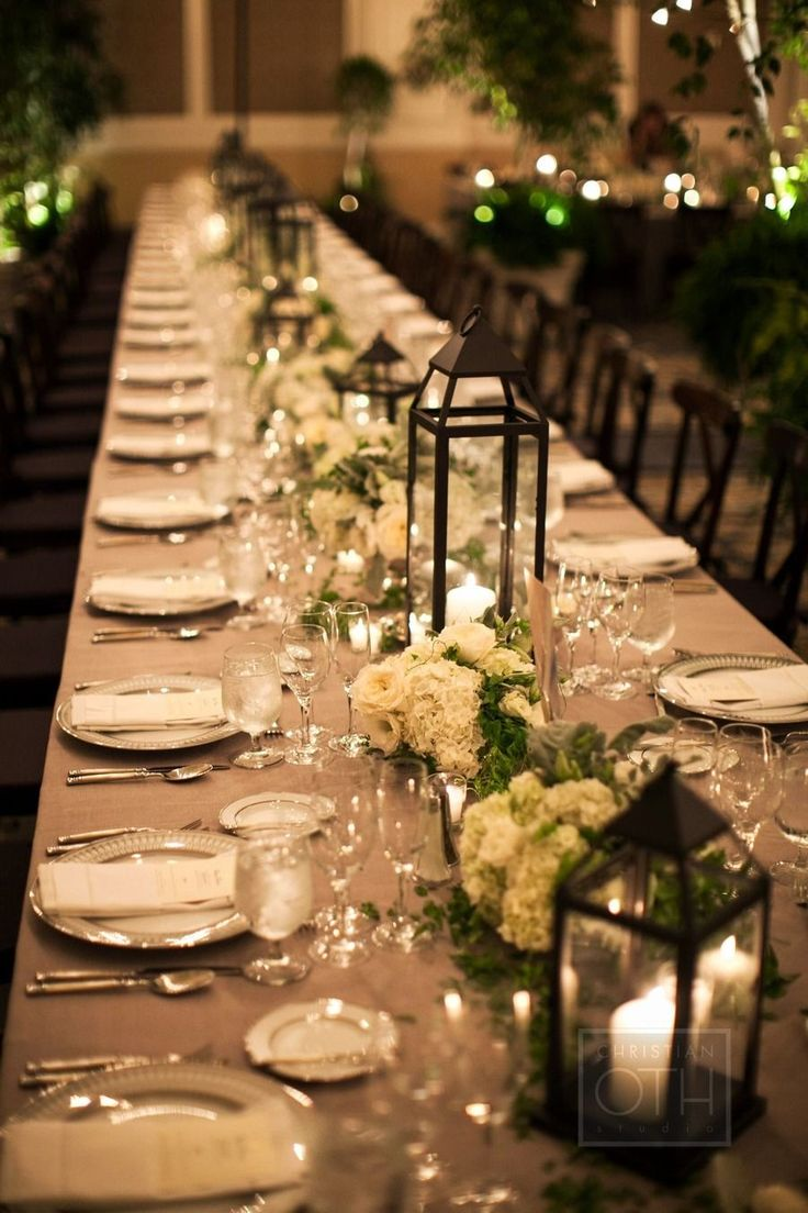 25 best ideas about long table centerpieces on pinterest for Deco table mariage bois flotte