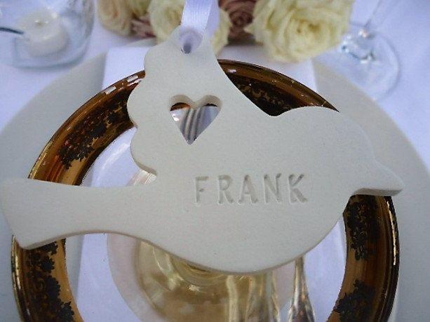 Wedding Clay Dove Name Tag - Set of 25 by MYMIMISTAR on Etsy