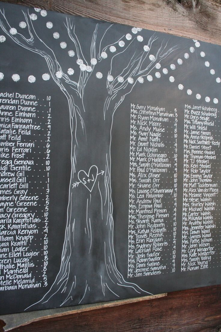 detail of tree with lights for custom chalkboard seating chart.