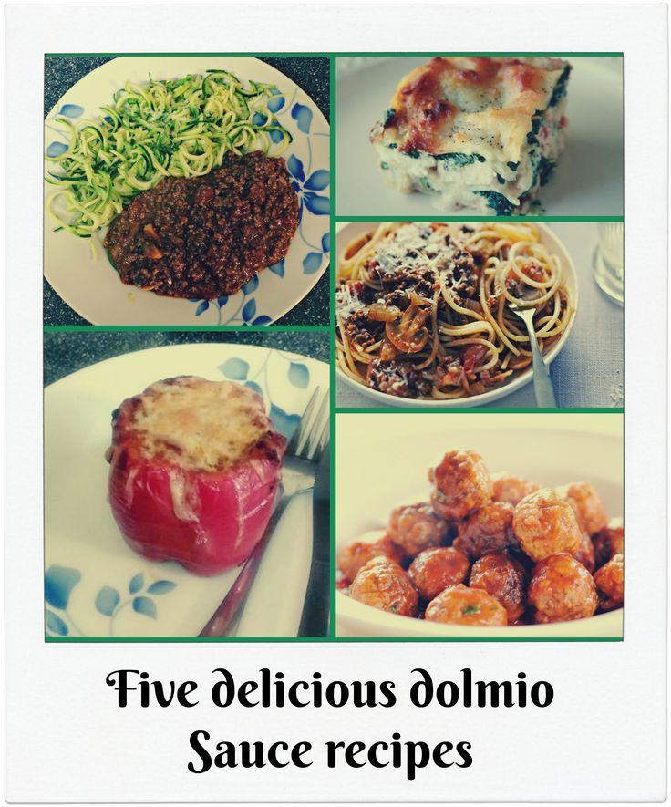 Five delicous recipes using a dolmio sauce, spaghetti bolognese, lasagne, meatballs, stuffed peppers and corgetti bolognese.