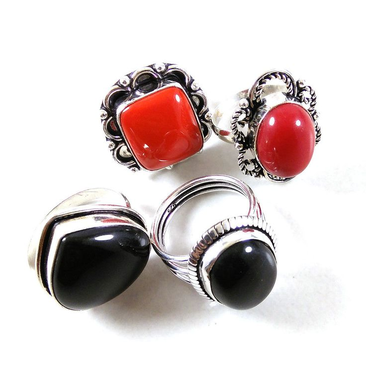 New Wholesale Lot 4 PCs Black Onyx,Red Coral Gemstone .925 Silver Plated Rings #Unbranded #Rings