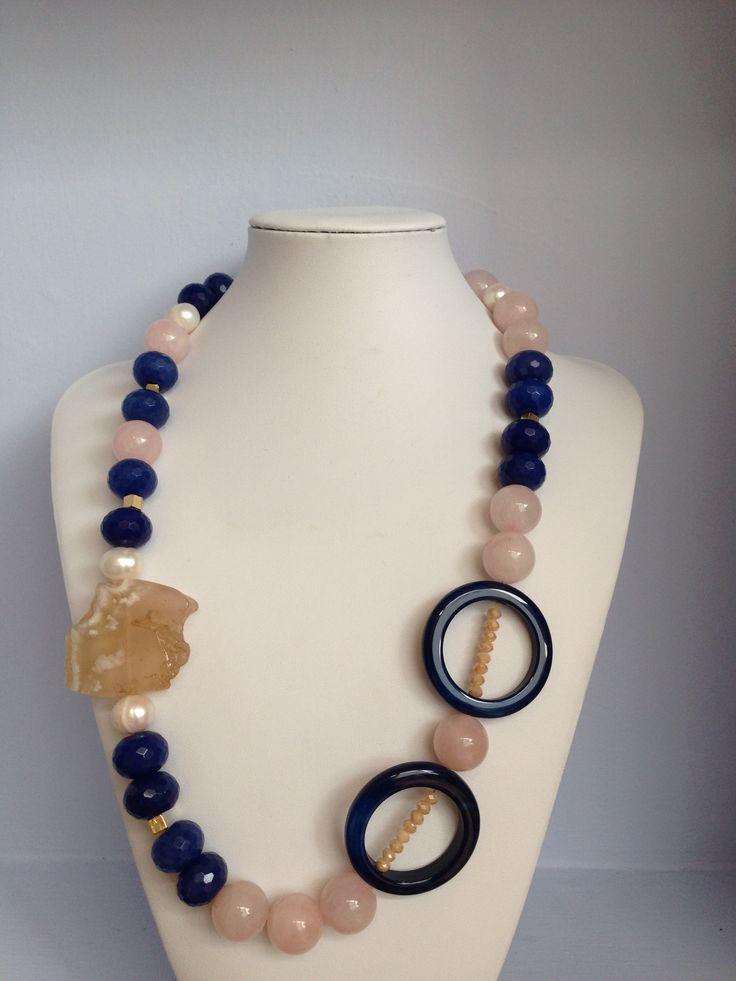 ROSE QUARTZ, BLUE JADE, PEARL AND CRYSTAL