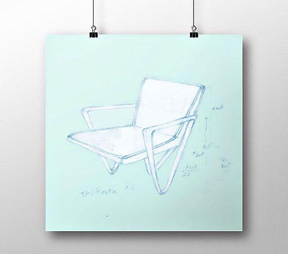 Chair Design Art Print, Giclee Print of Chair, Blueprint of Chair. Trifecta.Blueprint Art of Chair #giclee #blueprintart #etsy