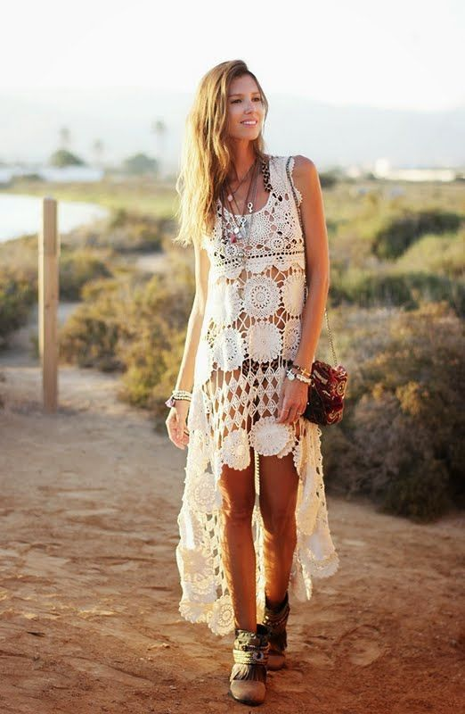 Crochetemoda: Vestido Branco de Crochet                              …