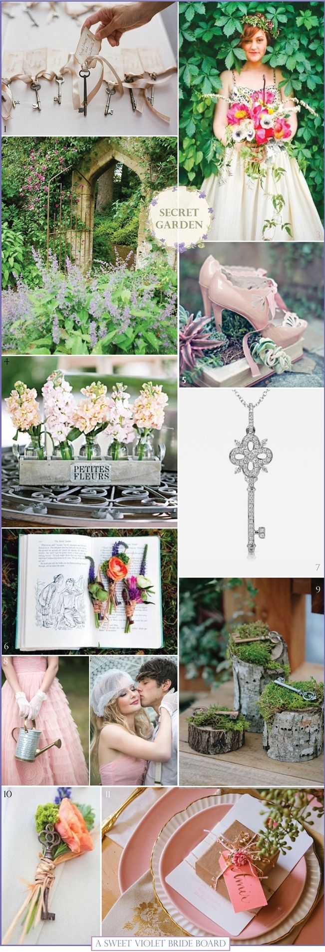 Wedding Inspiration Board #9: Secret Garden. 1) Bridal Musings  2) Pinterest  3) Apryl Ann Photography  4) Brides of Adelaide  5) Wedding Gawker  6) Green Wedding Shoes  7) 77 Diamonds  8) Love My Dress  9) Zest it Up  10) Green Wedding Shoes  11) Blue Eye Brown Eye