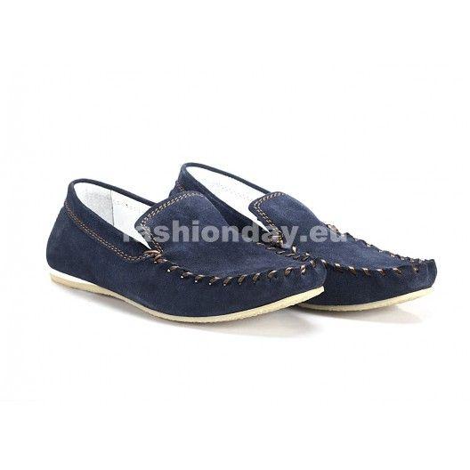 Modré pánske kožené mokasíny COMODO E SANO s hnedým prešívaním - fashionday.eu