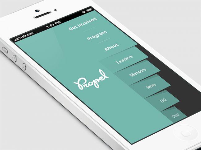 filp menu1 650x487 Vertical Navigation Implementation of Side Menu in Mobile Apps