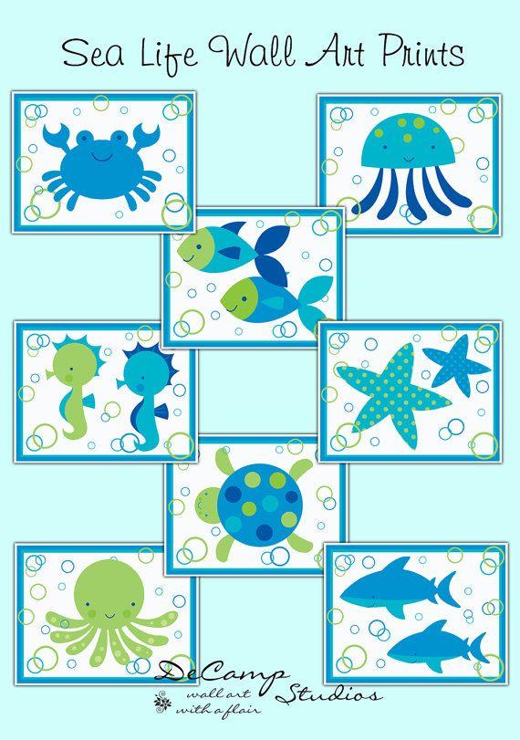 Ocean Wall Decor For Nursery : Ocean nursery prints animals wall art decor baby boy sea