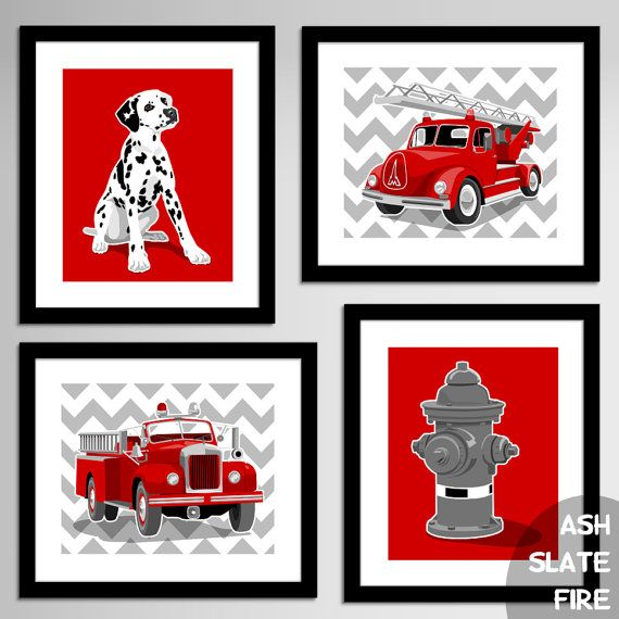Fireman Nursery Art, Fire Fighter Decor Fire Truck art, Vintage fire engine nursery, Chevron - CHOOSE COLORS - nursery art for boys