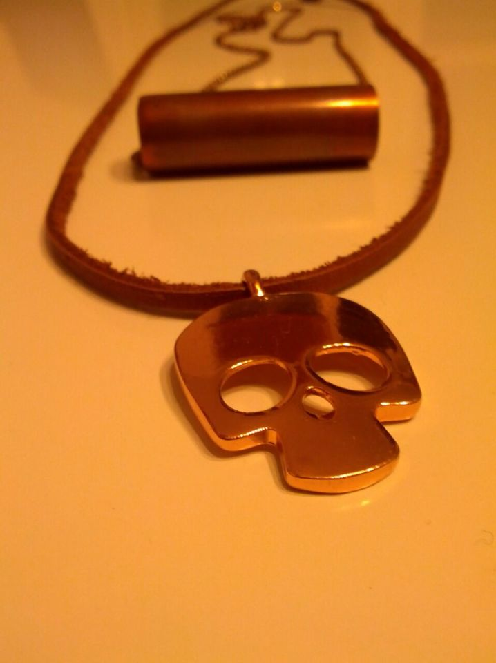 Favorite copper leather necklace layering