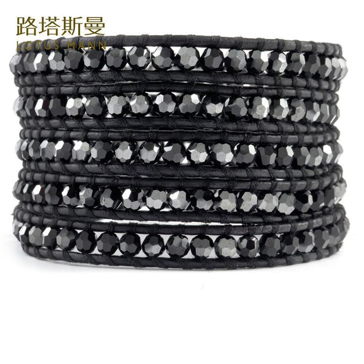 Lotus Mann Five laps black bile color crystal black leather cord bracelet