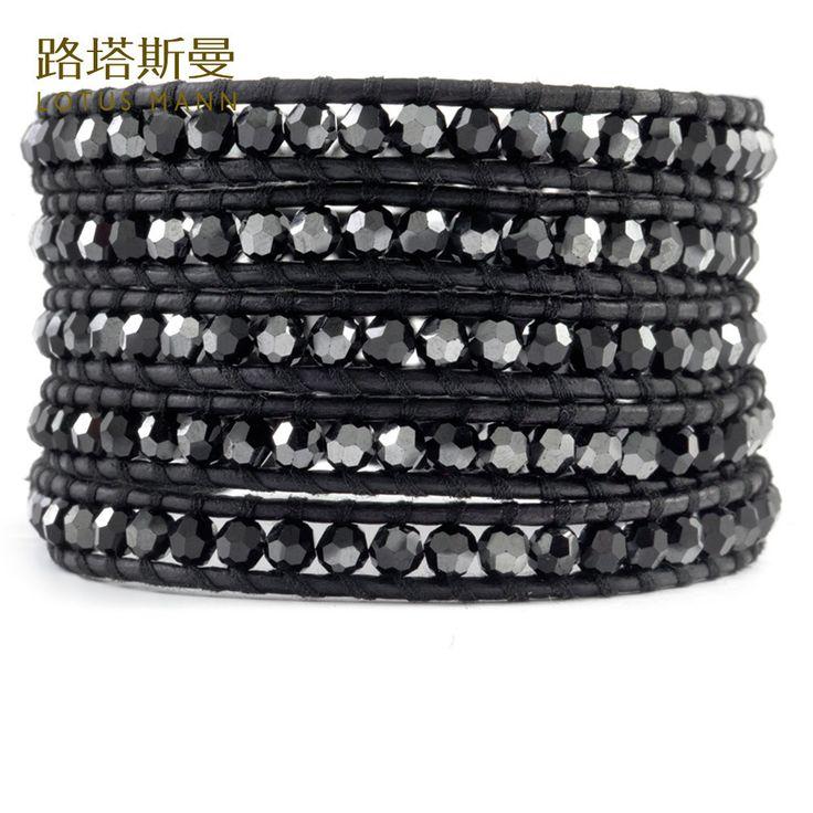 >> Click to Buy << Lotus Mann Five laps black bile color crystal black leather cord bracelet #Affiliate