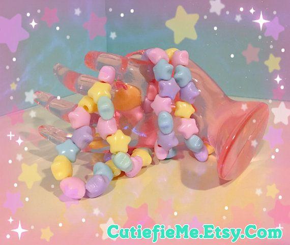 Kawaii Fairy Kei Pastel Rainbow Puffy Stars Bracelet, 4 colors