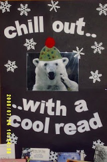 """This is a """"COOL"""" title for a winter bulletin board display that highlights reading:  """"Chill Out With a Cool Read!"""""""