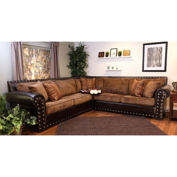 New Faux Leather Sectional Furniture Nailhead Brown Fabric Cushions Rustic  Home