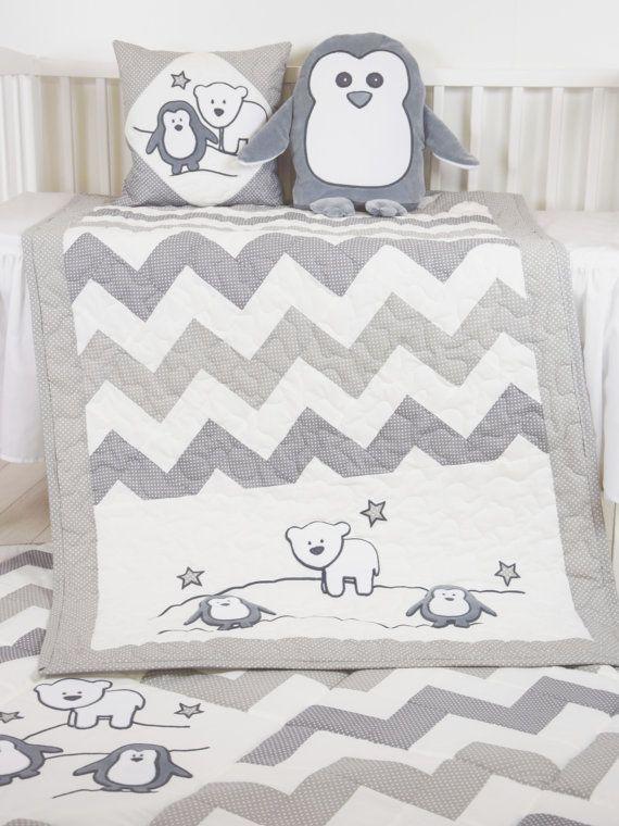 Penguin Baby Quilt Chevron Gray Toddler Blanket Handmade