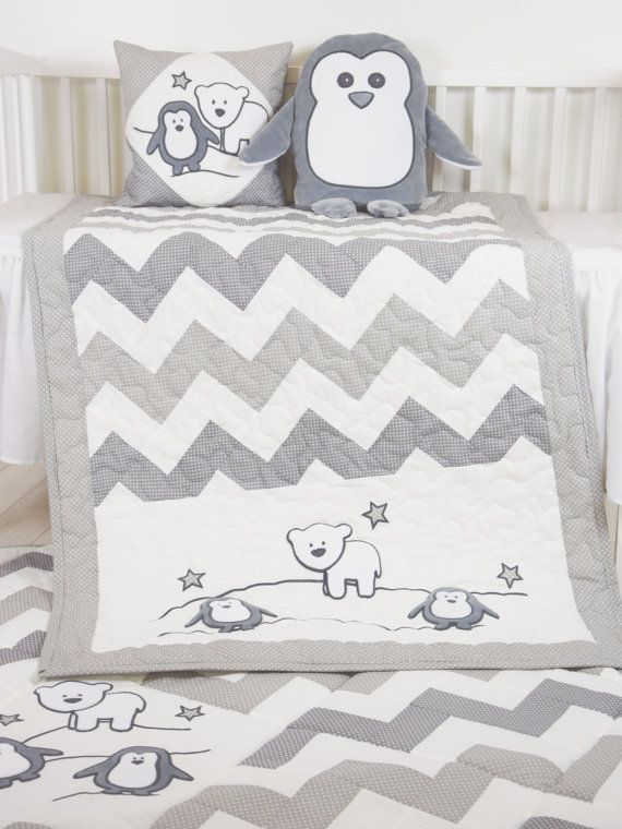 Penguin Baby Quilt Chevron Gray Toddler by Customquiltsbyeva