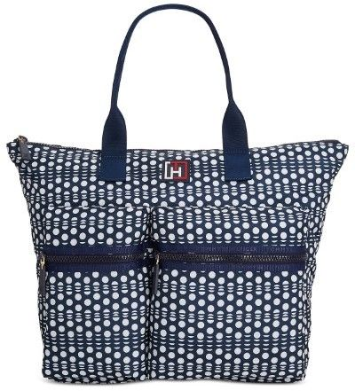 Tommy Hilfiger Womens Active Nylon Polka Dot Extra Large Tote Bag Navy and White