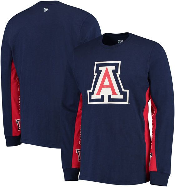 Arizona Wildcats Hands High Hail Mary Long Sleeve Fashion T-Shirt - Navy/Red - $39.99