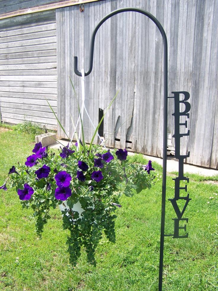 Shepherd Hook Believe Yard Garden Decor Art Plant Holder 35 0