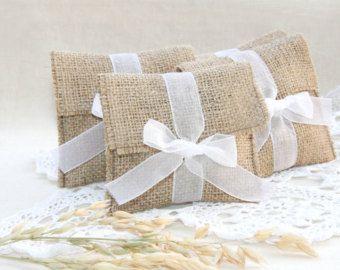 Bolsas favor rústica país favores de la boda, decoración de la boda de arpillera, bolsa de regalo de boda, bolsas favor de boda DIY